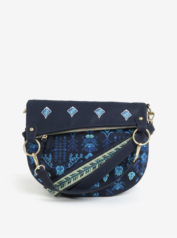 Tmavě modrá crossbody kabelka s výšivkou Desigual Thalassa Folded