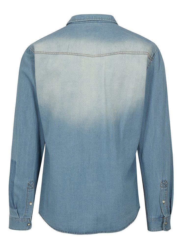 Svetlomodrá rifľová slim fit košeľa s vreckami Blend