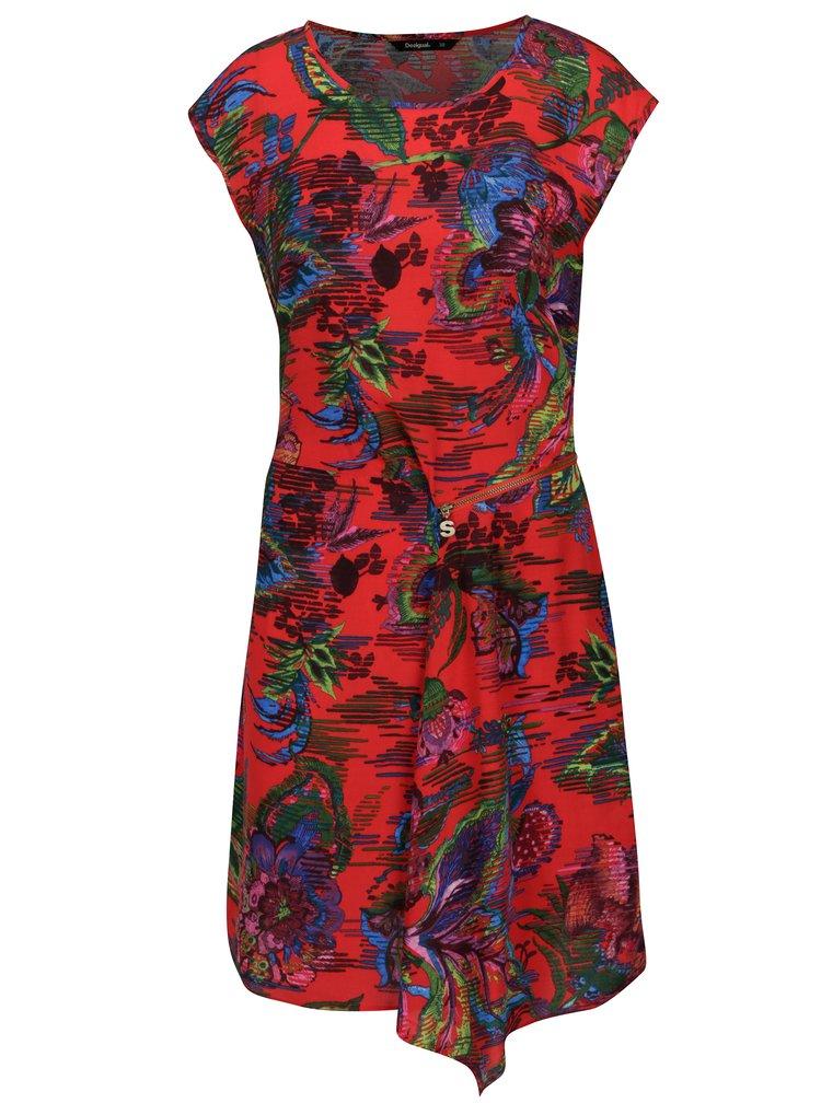 Červené vzorované asymetrické šaty Desigual Ofelia