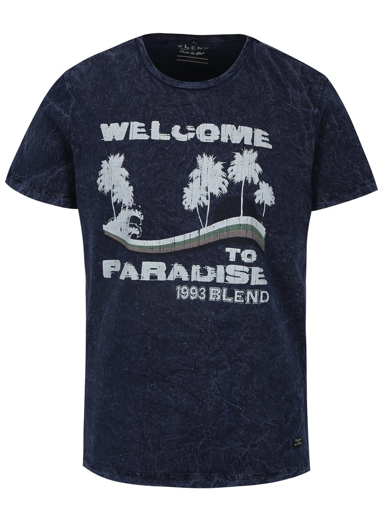 Tmavě modré slim fit tričko s potiskem Blend
