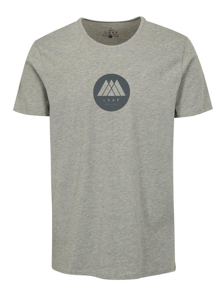 Šedé pánské žíhané tričko LOAP Buky