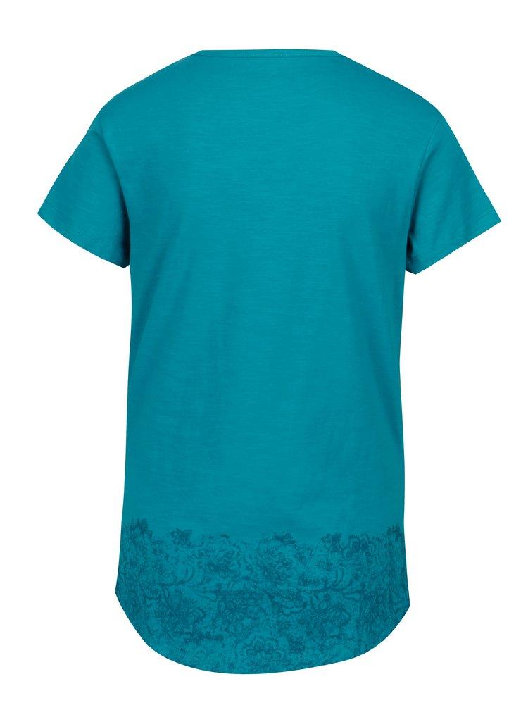 Tyrkysové dámské tričko s kulatým výstřihem a potiskem LOAP Balisey