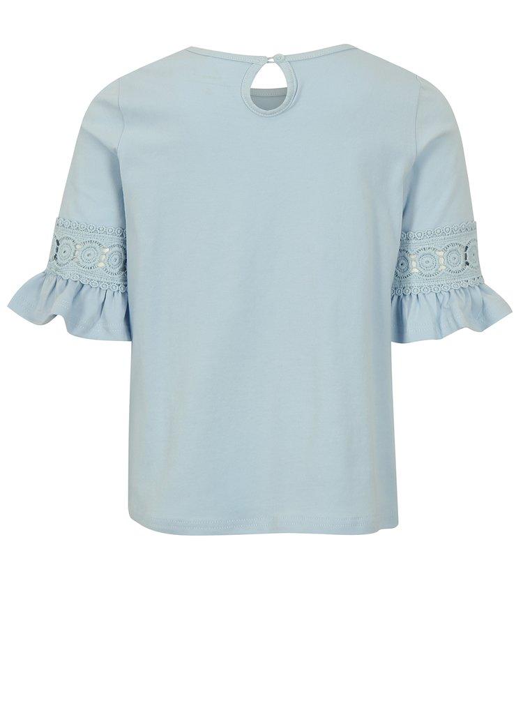 Světle modré holčičí tričko s volány na rukávech name it Fiam