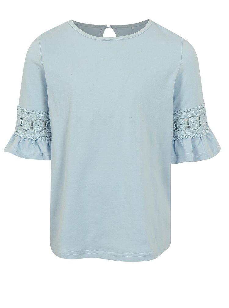 Svetlomodré dievčenské tričko s volánmi na rukávoch name it Fiam
