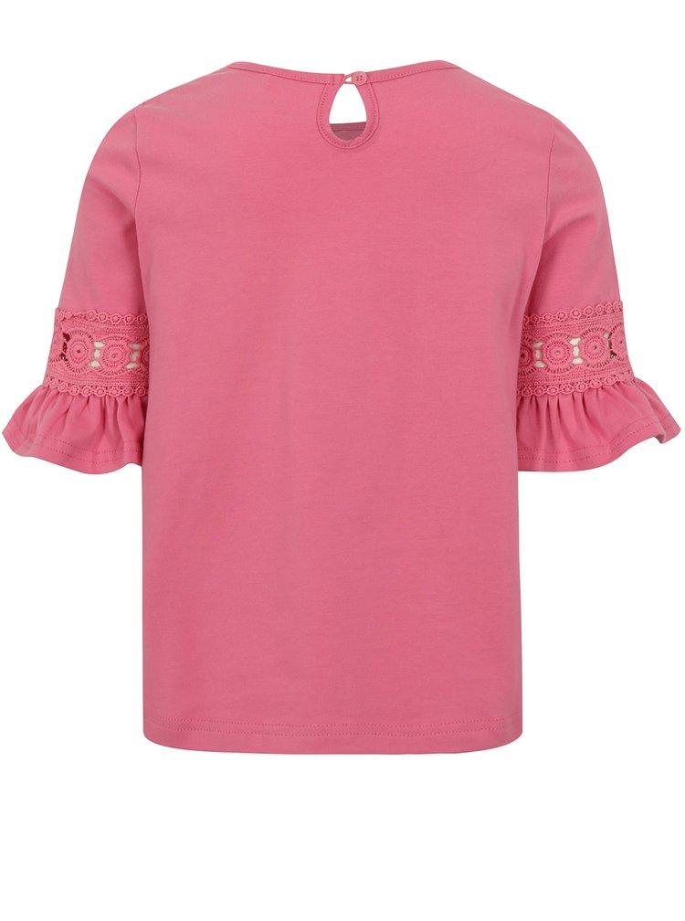 Růžové holčičí tričko s volány na rukávech name it Fiam