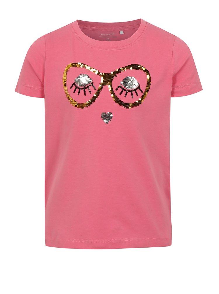 Ružové dievčenské tričko s magickými flitrami name it Fille