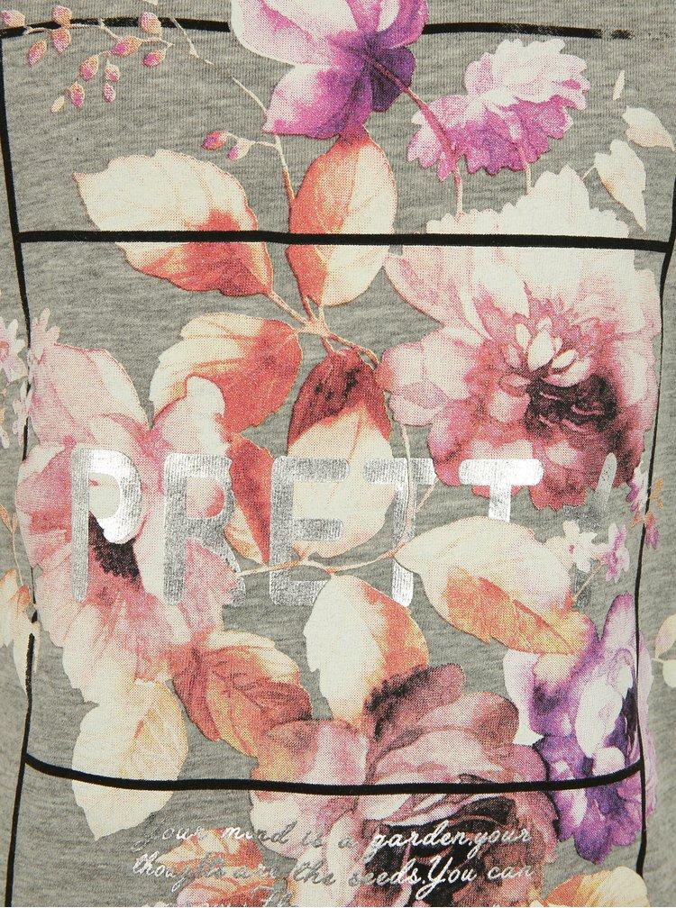 Šedé holčičí žíhané tričko s potiskem name it Sandy