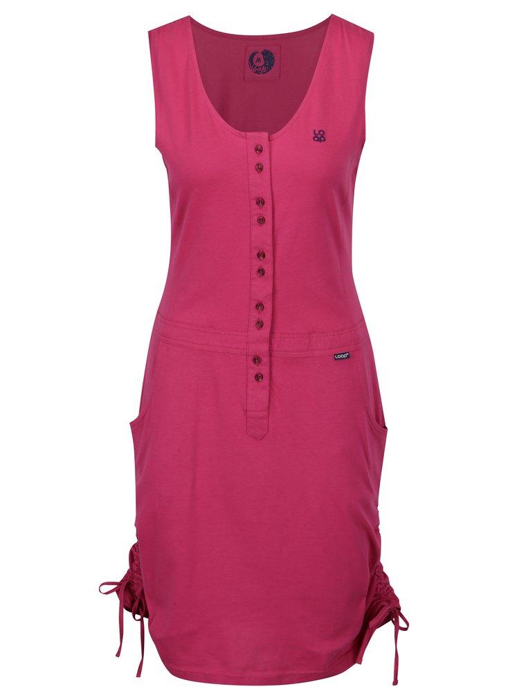 Tmavě růžové šaty se stahováním na stranách LOAP Nela