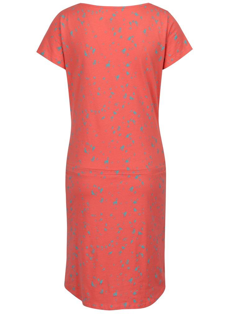 Koralové šaty s krátkym rukávom a potlačou vtákov LOAP Amber