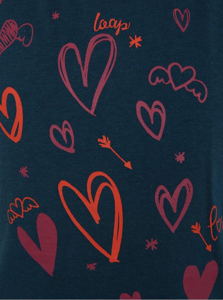 Tmavě modré holčičí tričko s potiskem LOAP Ibiska