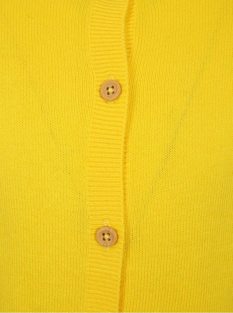 Žlutý holčičí kardigan s volány na rukávech name it Filippa