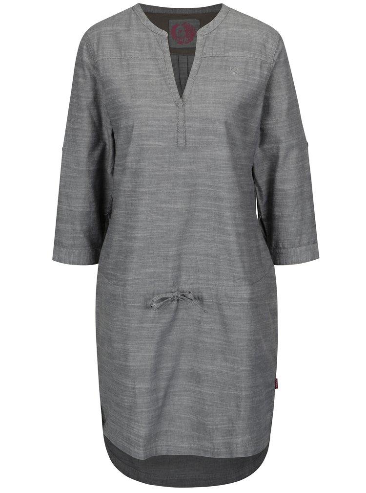 Šedé žíhané šaty s 3/4 rukávem LOAP Nicia