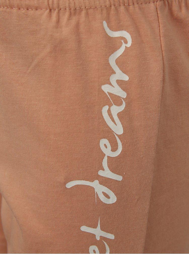 Meruňkovo-šedé klučičí pruhované dvoudílné pyžamo s potiskem name it Night