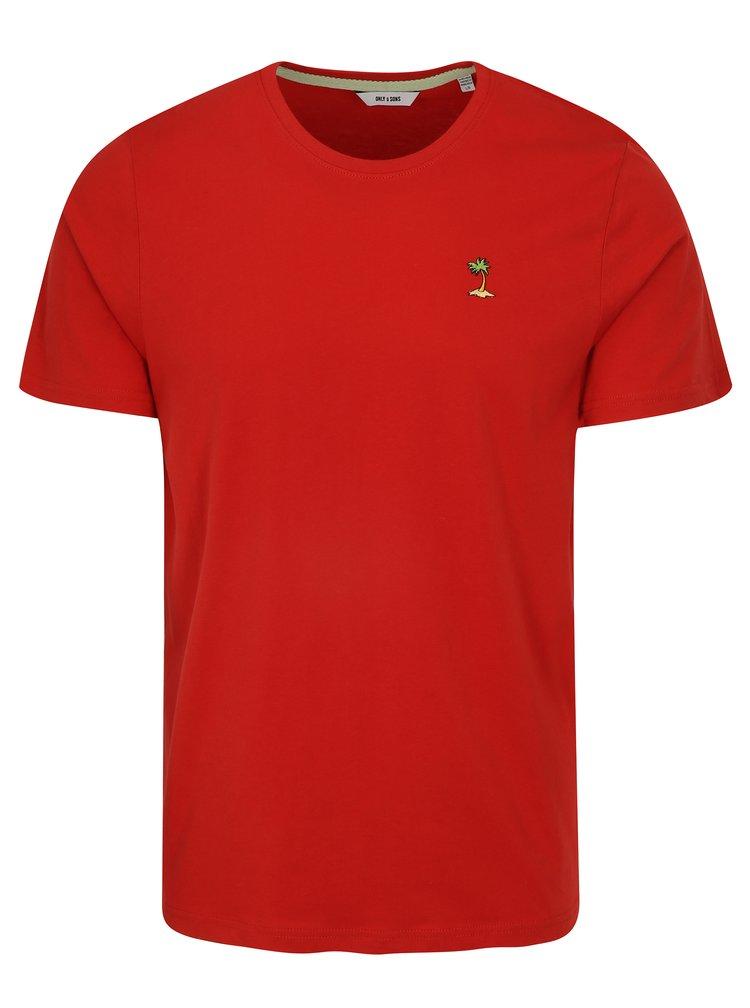 Červené tričko s výšivkou ONLY & SONS Dereck