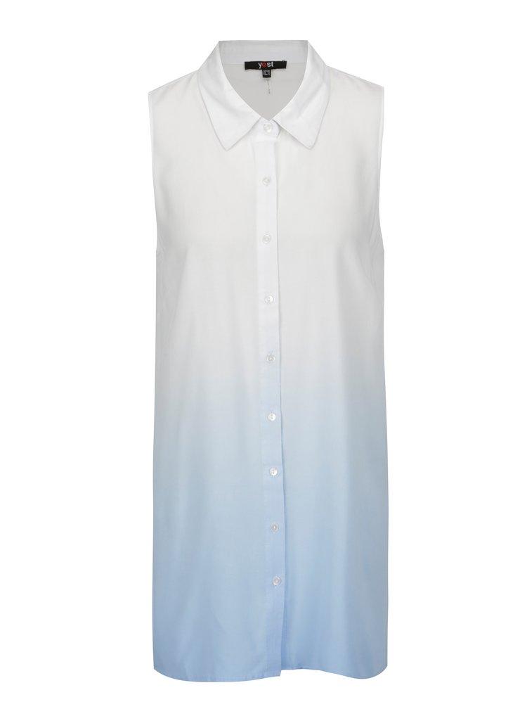 Modro-bílá halenka bez rukávů Yest