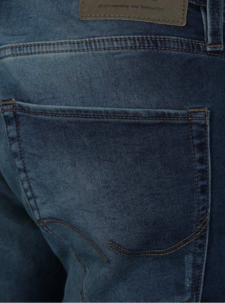 Tmavě modré džínové regular fit kraťasy Jack & Jones Rick