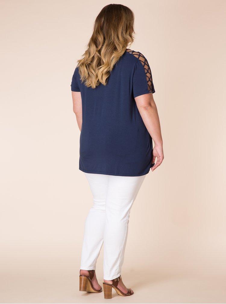 Tmavě modré tričko s průstřihy na ramenou a rukávech Yest
