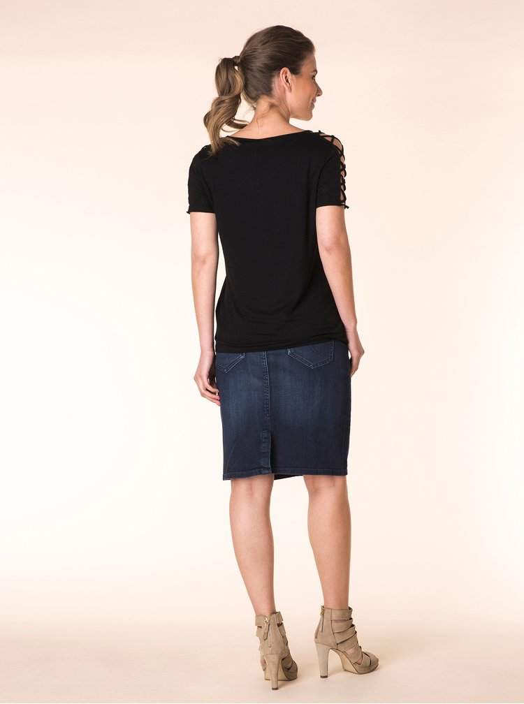 Černé tričko s průstřihy na ramenou a rukávech Yest