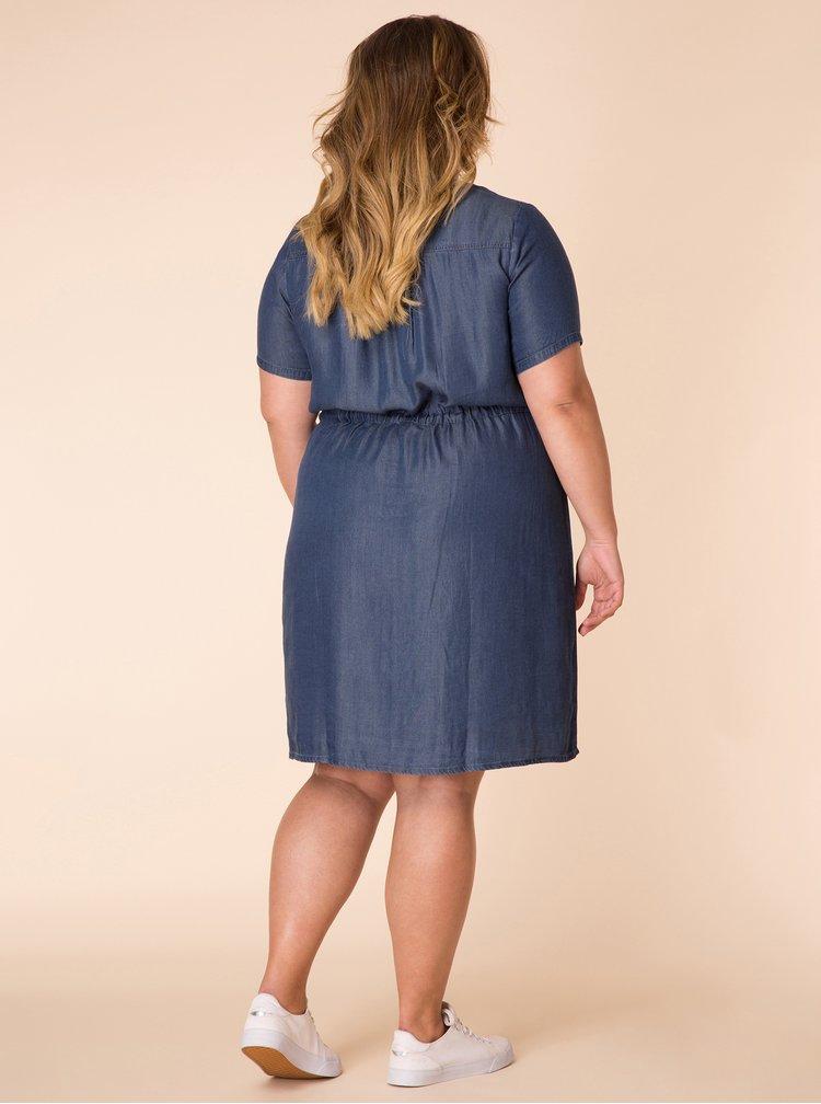 Tmavě modré džínové šaty s krátkým rukávem Yest