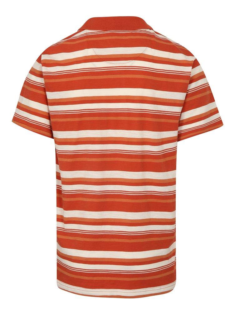 Cihlové pánské pruhované polo tričko BUSHMAN Mayer
