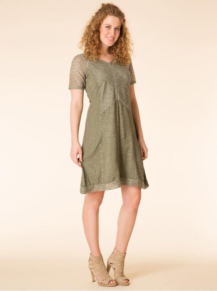 Khaki žíhané šaty s krátkým rukávem Yest