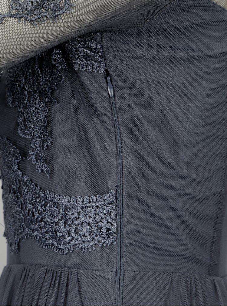 Tmavě šedé maxišaty s průsvitným krajkovým topem VILA Georgious