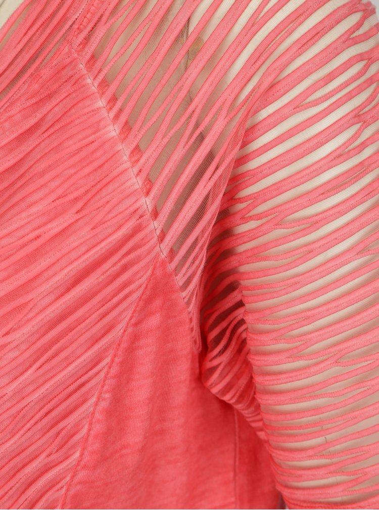 Růžové žíhané šaty s krátkým rukávem Yest