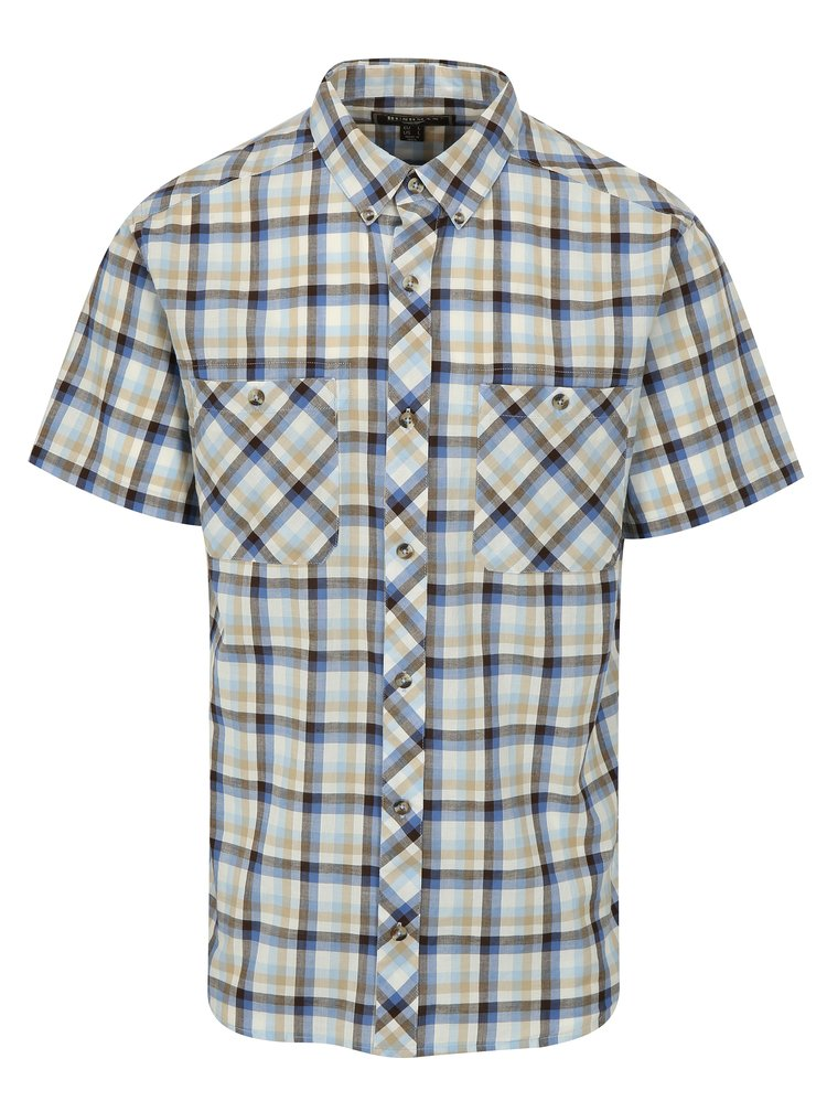 Krémovo-modrá pánská kostkovaná košile BUSHMAN Creole