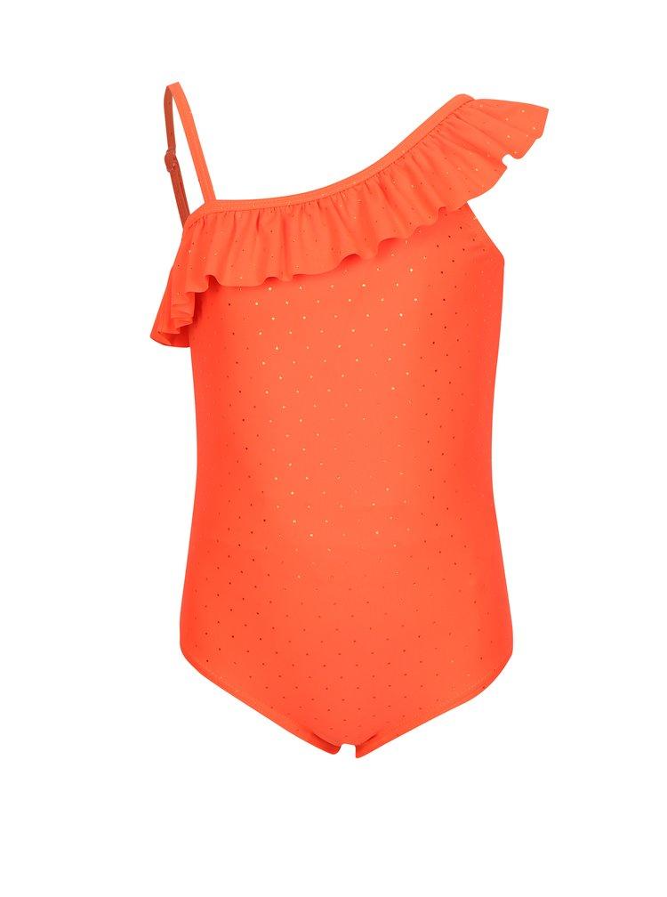 Neonově oranžové holčičí puntíkované jednodílné plavky name it Zolid