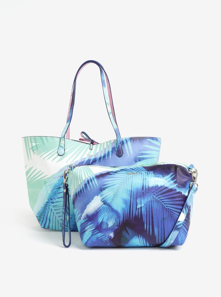 Modrý oboustranný shopper s pouzdrem Desigual Blue palms capri