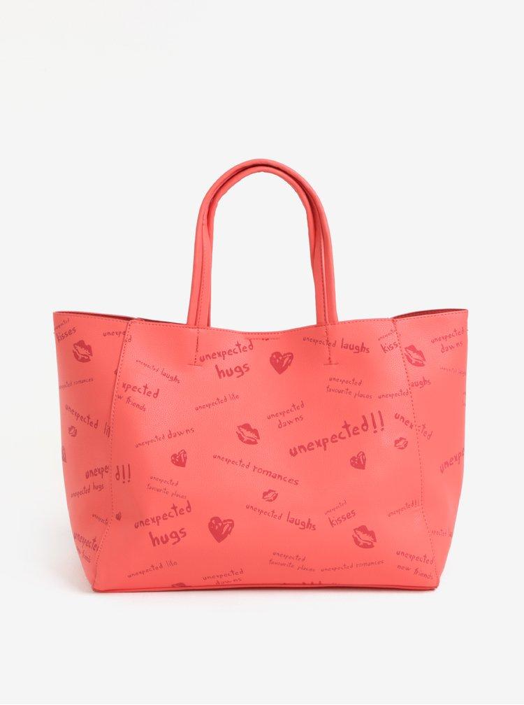 Červený vzorovaný shopper s pouzdrem Desigual Tell me Cuenca