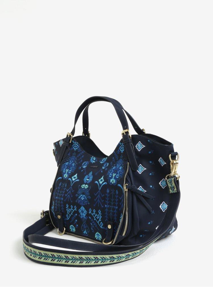 Tmavě modrá kabelka s výšivkou Desigual Thalassa Rotterdam