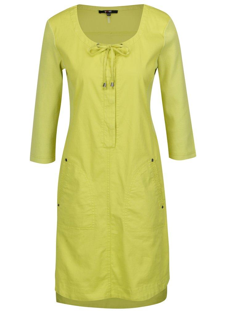 Světle zelené šaty s 3/4 rukávem Yest