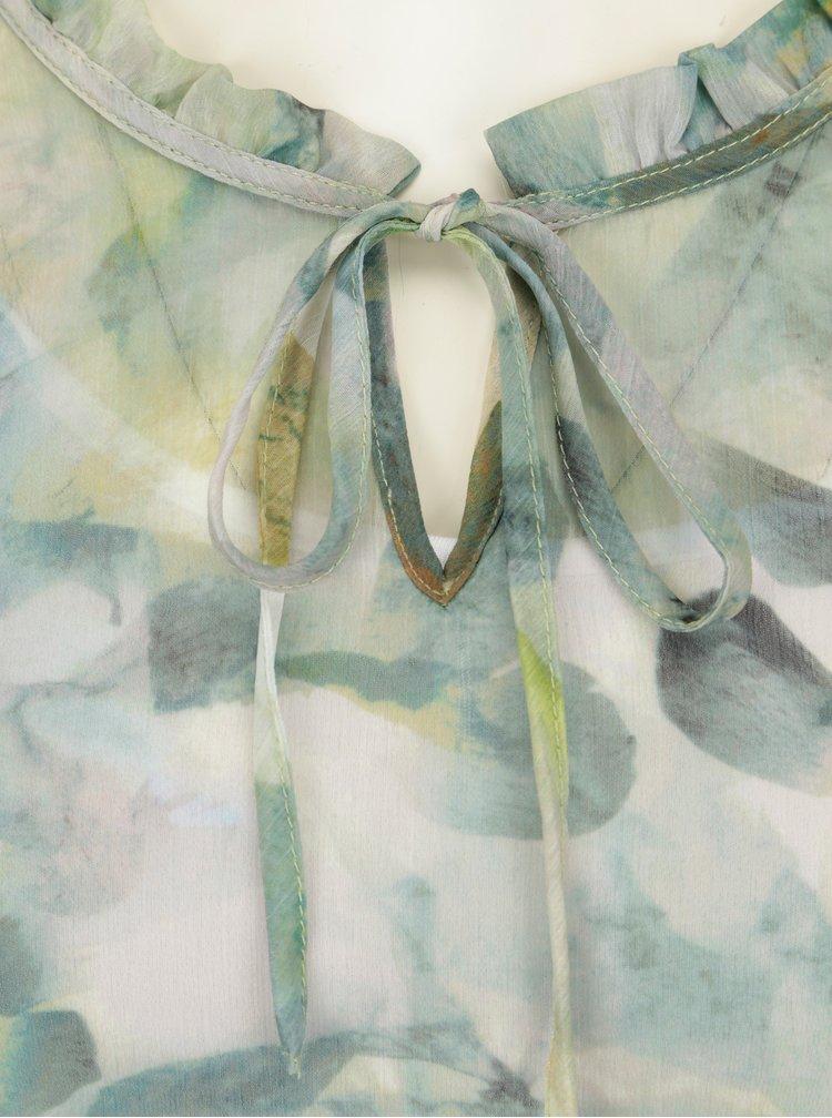 Krémovo-zelená vzorovaná halenka s 3/4 rukávem Yest
