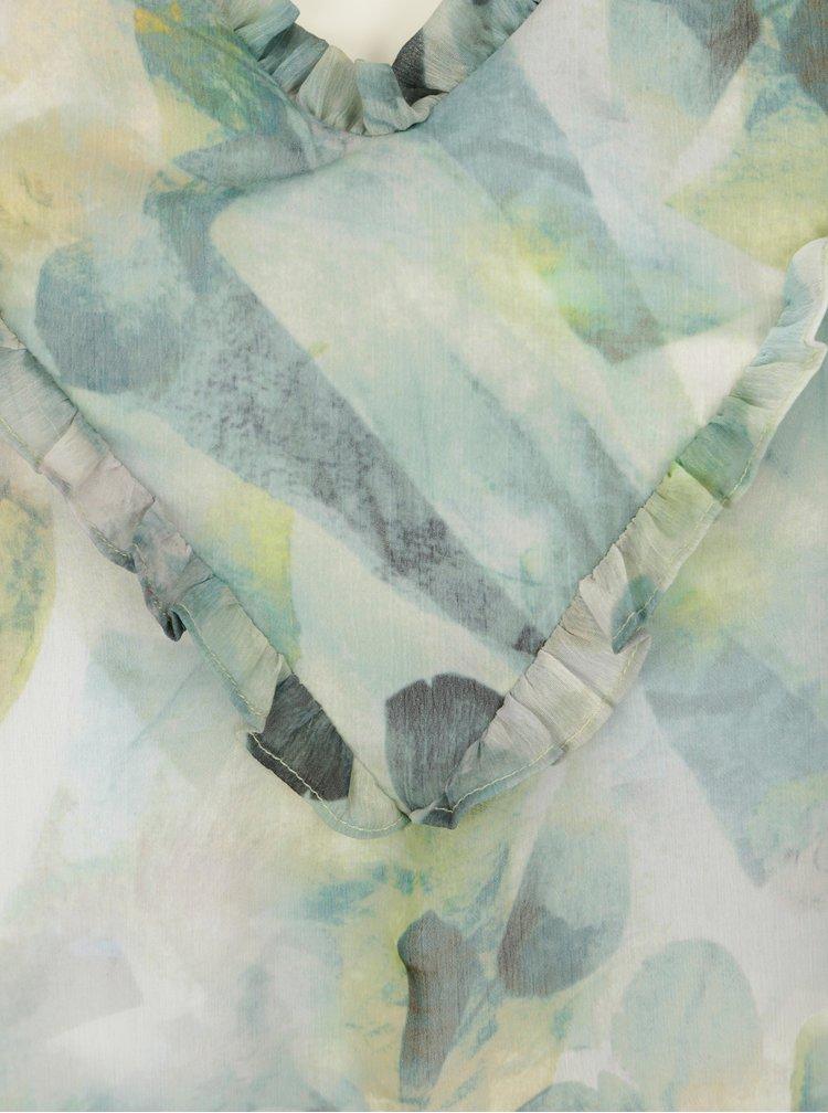 Krémovo-zelená vzorovaná halenka bez rukávů Yest
