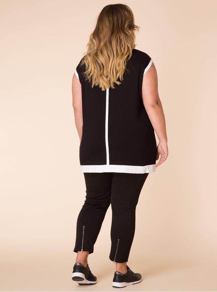 Černé elastické zkrácené kalhoty se zipy Yest