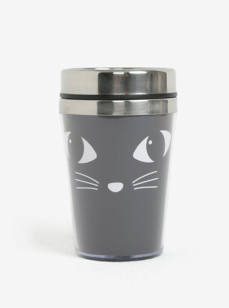 Černý termohrnek s motivem kočky Sass & Belle