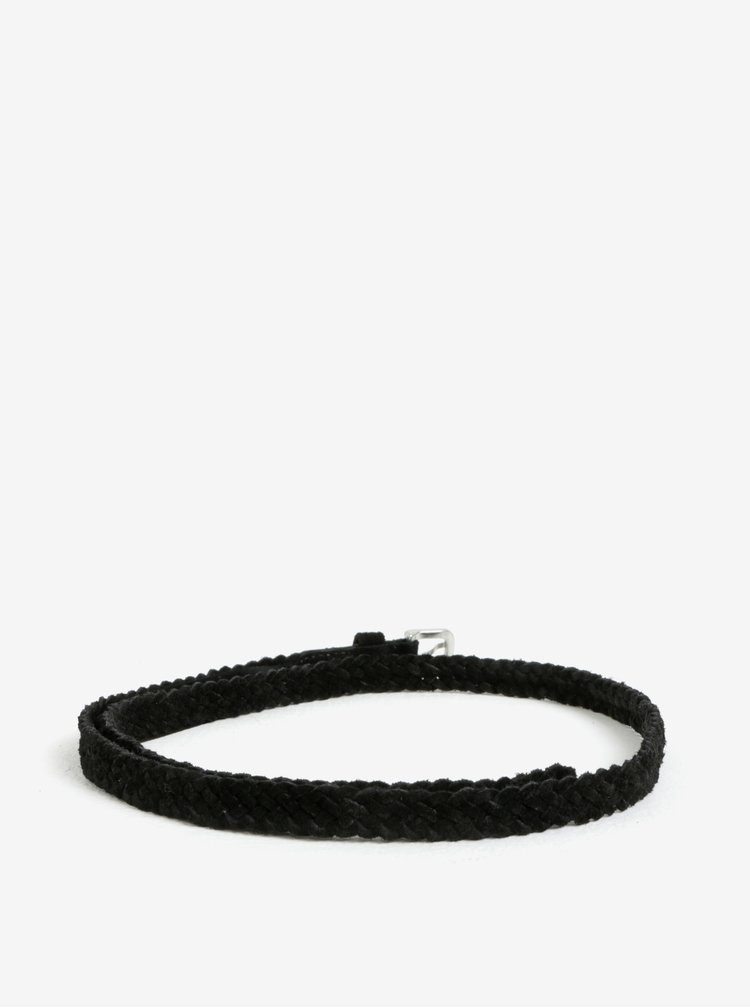 Černý semišový pletený pásek Pieces Gem