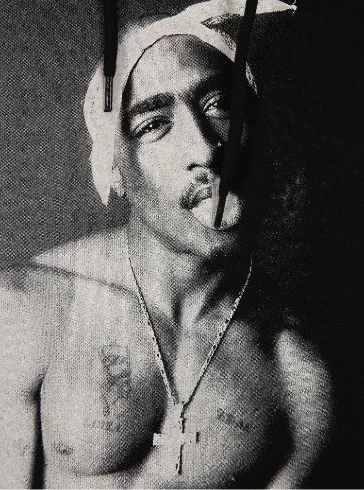Černá mikina s kapucí a potiskem Dedicated Tupac
