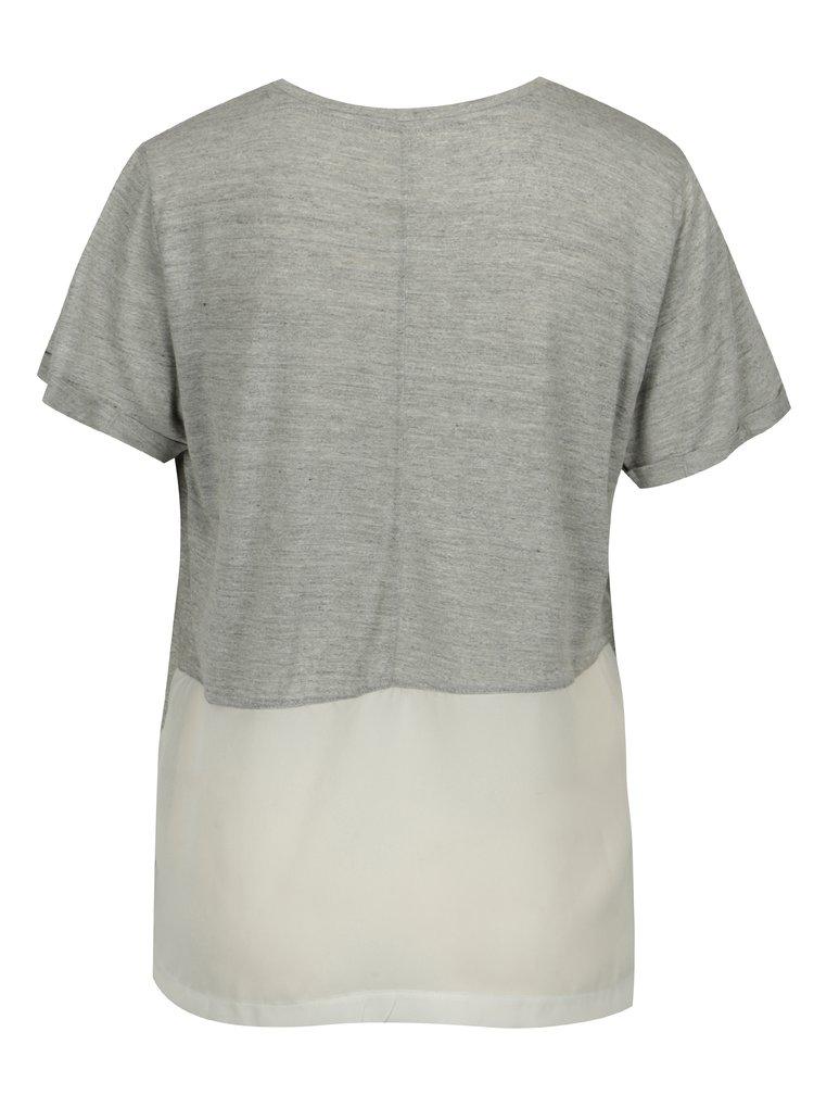 Světle šedé žíhané tričko s véčkovým výstřihem Blendshe Vibe