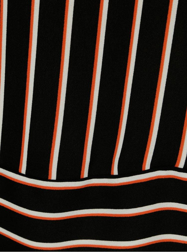 Oranžovo-černá pruhovaná halenka s průstřihem na zádech Blendshe Nora