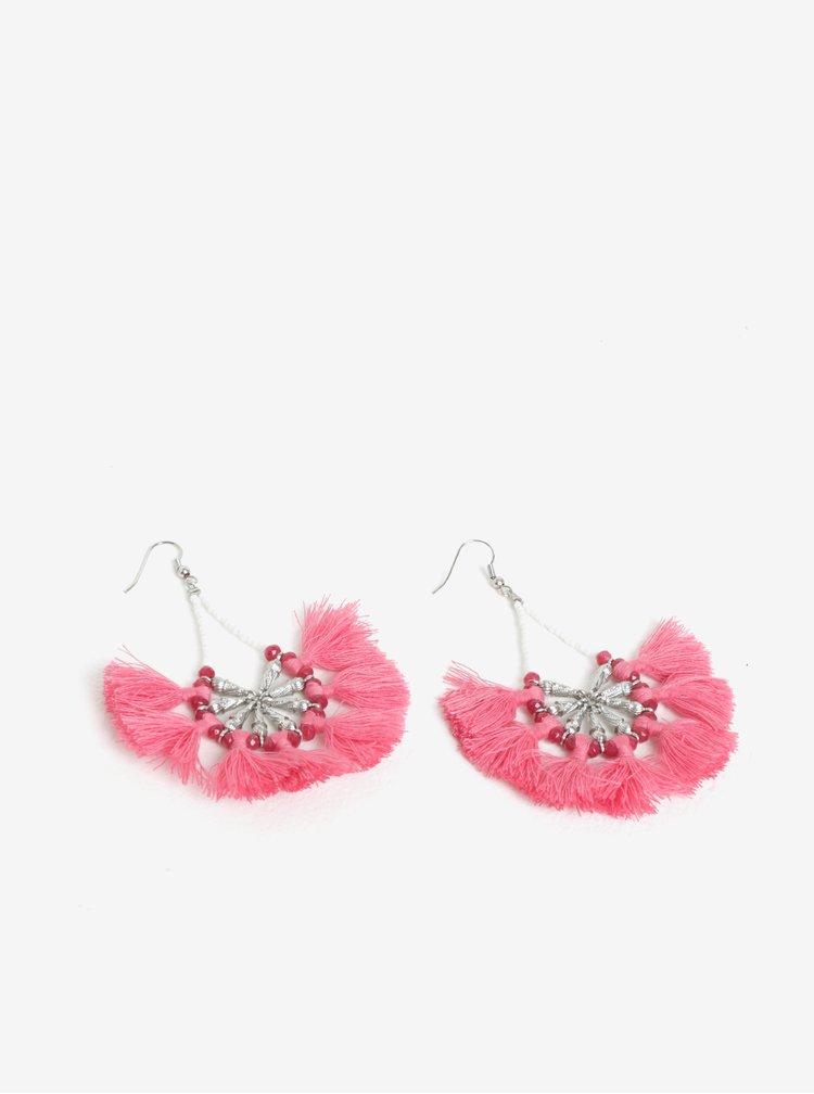 Cercei evantai roz cu franjuri Pieces Dawn