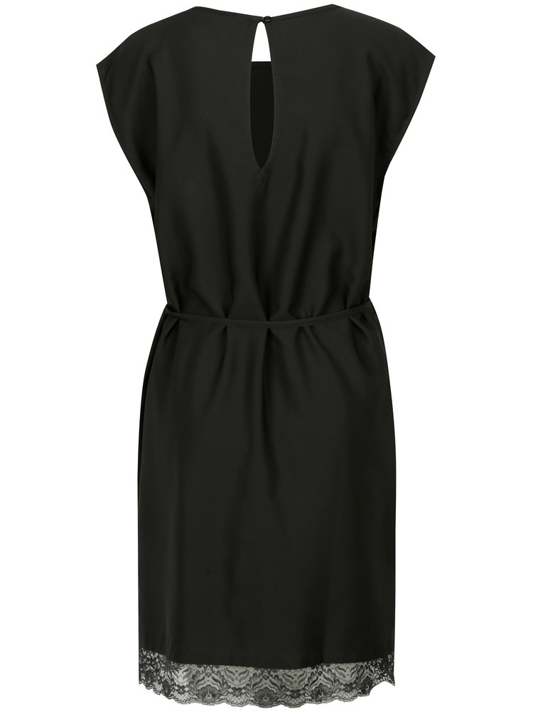 Černé šaty s krajkovým lemem Blendshe Filu