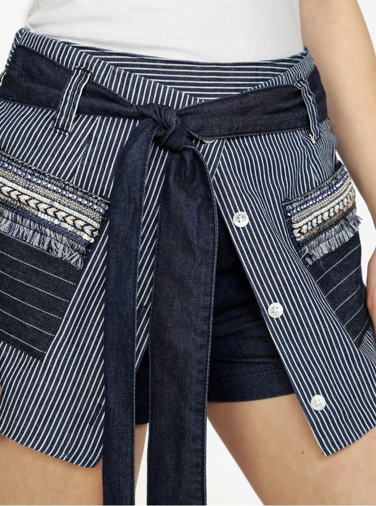 Tmavě modré pruhované džínové kraťasy s vysokým pasem Desigual Emilie