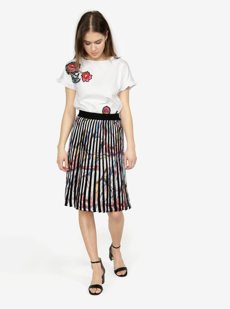 Fusta crem&negru cu print abstract si pliuri Desigual Lady Liberty