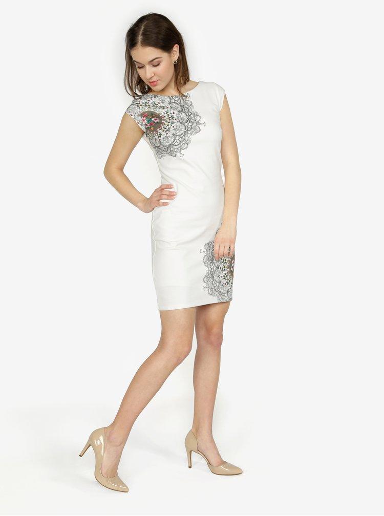 Krémové vzorované šaty Desigual Shanon