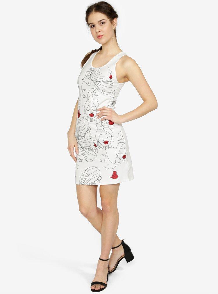 Krémové šaty s výšivkou Desigual Santiago Chile