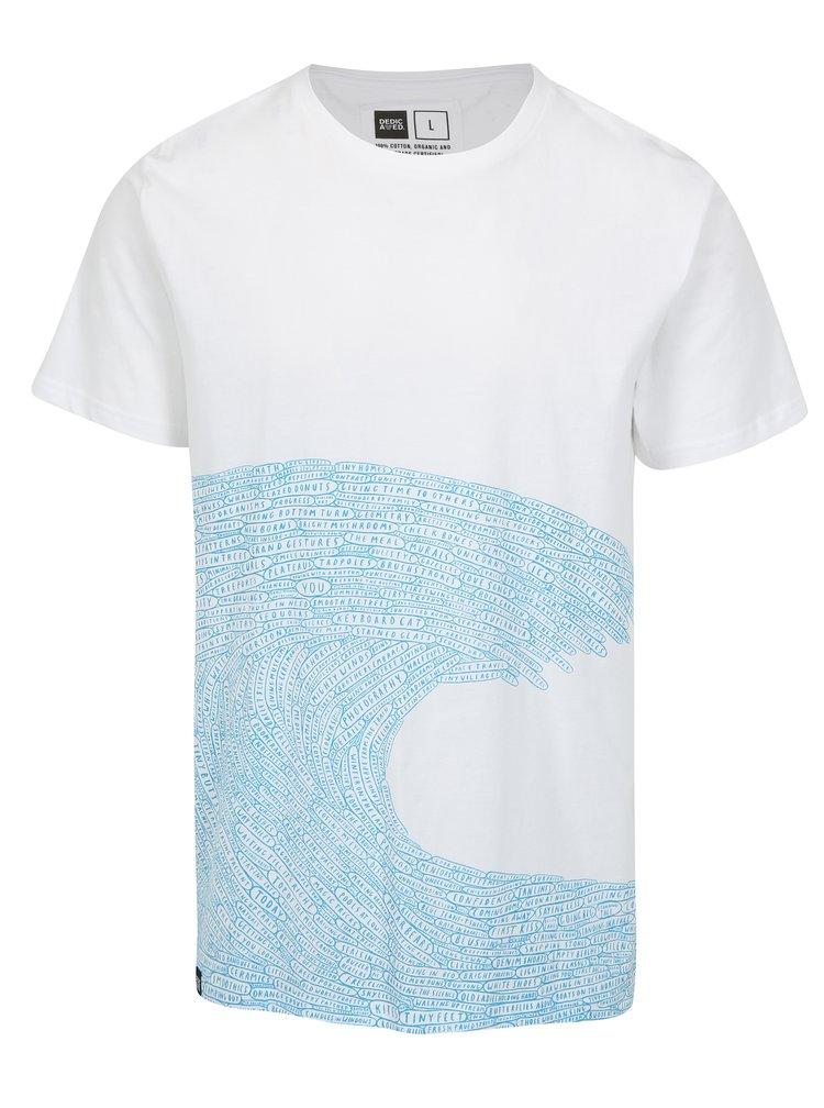 Bílé tričko s potiskem Dedicated Word wave