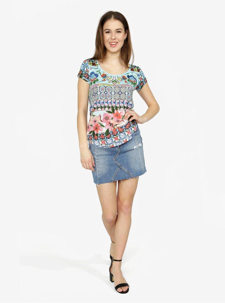 Tricou albastru cu print floral si geometric - Desigual Monique