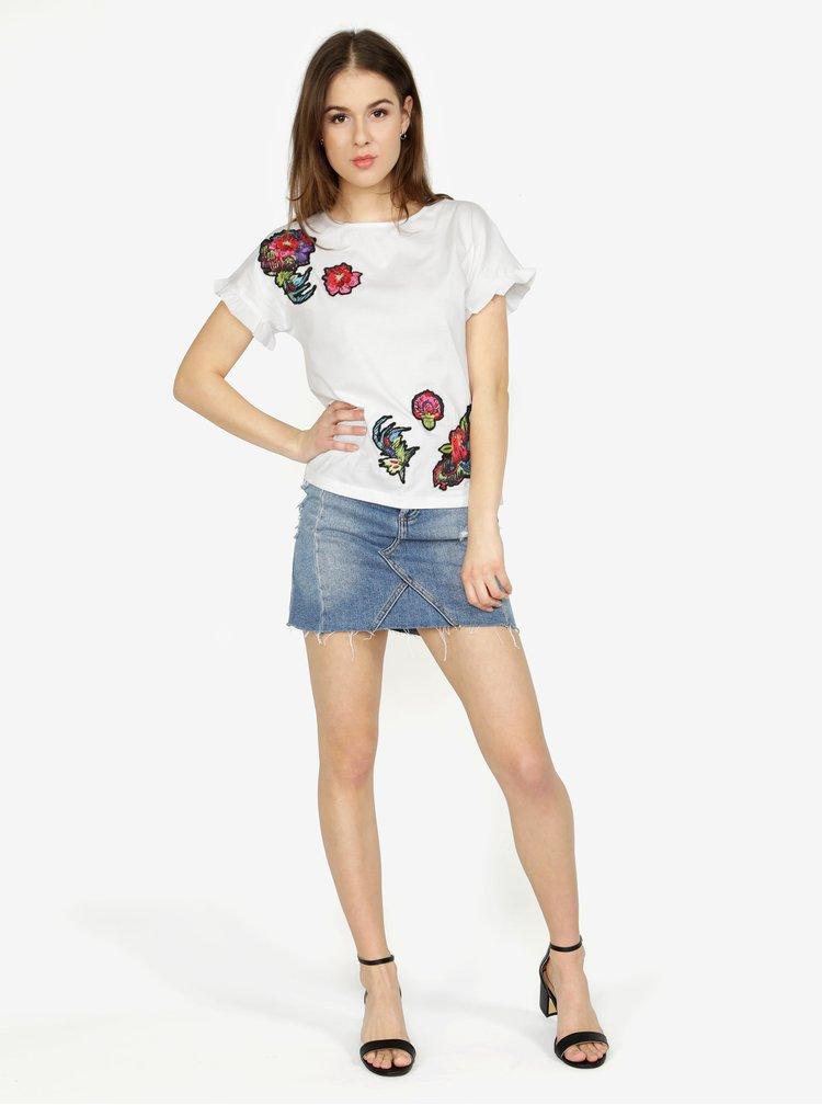 Tricou alb cu aplicatii brodate si volane discrete - Desigual Candice